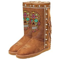Pre-owned Montana West Suede Leather Sugar Skull Candy Hugs Winter Brown Boots (€170) found on Polyvore featuring shoes, boots, brown, suede shoes, brown boots, suede boots, skull shoes and brown studded boots