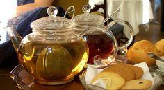 Tre kander te i glas på række på Tante t. Foto fra lige efter åbning. Foto: Else Bjørn