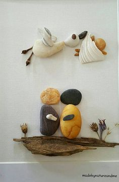 A new baby is a true miracle, a gift from above, and a celebration of life. A stork symbolizes new beginnings as it aids in the delivery of fresh thou. Stone Crafts, Rock Crafts, Diy And Crafts, Gifts For Expecting Parents, Pebble Art Family, Pebble Pictures, Beach Crafts, Shell Art, Driftwood Art