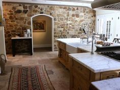stone wall in the kitchen...