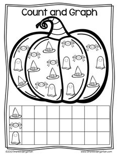 Math activities for kindergarten with a Halloween theme.  Lots of NO PREP Printables and colorful center activities.