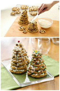 "Christmas Cookie Tree. Bake cookies big to small , stack them using icing as ""glue"" then sprinkle. Place in holiday saran wrap for gift giving. G;)"