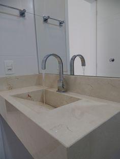 Bancada e Cuba  de Banheiro em Mármore Crema Marfil