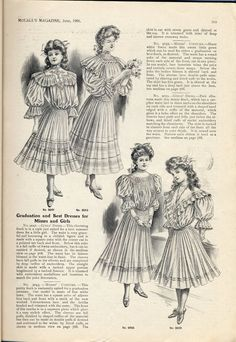 """McCall's patterns for """"Graduation and Best Dresses for Misses and Girls"""" (USA, 1905)."""