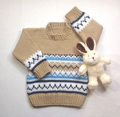 c31332256ed Toddler hand knit sweater - 12 to 24 months - Fair Isle baby knit - Fair