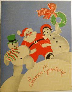 30s Art Deco Santa and Snowmen Vintage Christmas Card