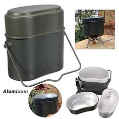 Hot Sale Retro Army Military Green Camping Picnic Cookware Cook Canteen Set Hiking Survival Bento Lunch Box With Pot Bowl * Find out more about the great product at the image link.