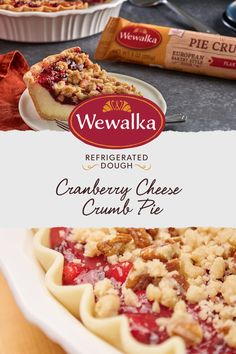 Cheesecake made festive! This Cranberry Cheese Crumb Pie made with Wewalka refrigerated pie crust dough is the perfect dessert to bake for your loved ones this holiday season. Thanksgiving Recipes, Fall Recipes, Holiday Recipes, Thanksgiving Sides, Cranberry Cheese, Cranberry Recipes, Pie Dessert, Dessert Recipes, Pumpkin Dessert