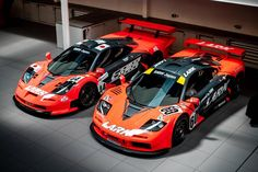 You can't really tell but they are slightly different colours. Spotless workshop as always . Sport Cars, Race Cars, Mclaren Gtr, Bmw Engines, Car Photography, Formula One, Car Photos, Retro, Car Show