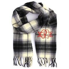 Monogrammed Cashmere Feel Scarf Ivory Plaid