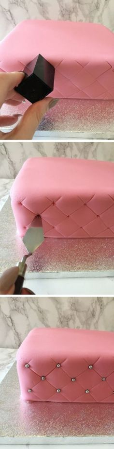 How to Create a Super Simple Quilted Effect - 17 Amazing Cake Decorating Ideas, . How to Create a Super Simple Quilted Effect - 17 Amazing Cake Decorating Ideas, Tips and Tricks That'll Make You A Pro Cake Icing, Fondant Cakes, Eat Cake, Cupcake Cakes, Simple Fondant Cake, Simple Cupcakes, Buttercream Frosting, Fondant Tips, Icing Tips