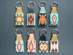 All except the Key chain with mini hacky sack are made of Czech glass seedbead Native Beading Patterns, Pony Bead Patterns, Beadwork Designs, Beaded Jewelry Patterns, Seed Bead Art, Seed Beads, Beaded Moccasins, Brick Stitch Earrings, Beaded Lanyards