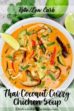 Thai Coconut Curry Chicken Soup - Keto and Low Carb Classic Thai chicken soup flavored coconut, shiitake mushrooms and a spicy kick from red curry! Coconut Curry Chicken Soup, Keto Chicken Soup, Keto Soup, Thai Red Curry Soup, Coconut Chicken Soup Thai, Spicy Thai Chicken Soup, Thai Curry Recipes, Red Curry Chicken, Coconut Milk Soup