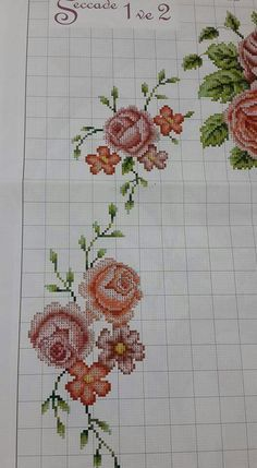 This Pin was discovered by Aki Cross Stitch Rose, Cross Stitch Borders, Cross Stitch Flowers, Cross Stitch Charts, Cross Stitch Designs, Cross Stitching, Cross Stitch Embroidery, Hand Embroidery, Cross Stitch Patterns
