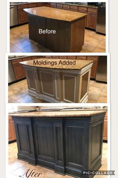 Home Interior Diy Kitchen island before & after.Home Interior Diy Kitchen island before & after Diy Kitchen Remodel, Kitchen Redo, New Kitchen, Kitchen Island Upgrade, Kitchen Island Makeover, Kitchen Island Remodel Ideas, Kitchen Makeovers, Kitchen Island Molding, Kitchen Island Trim