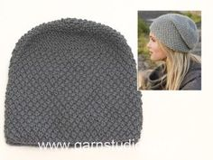 "Knitted DROPS hat with moss st in ""Nepal"". Free pattern by DROPS Design."