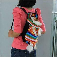 Color Stripes Pet Dog Front Carrier Backpack Bag - Size S