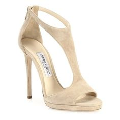 Jimmy Choo Lana 100 Suede T-Strap Sandals ($850) ❤ liked on Polyvore featuring shoes, sandals, beige, jimmy choo sandals, t strap shoes, beige shoes, beige sandals and suede leather shoes