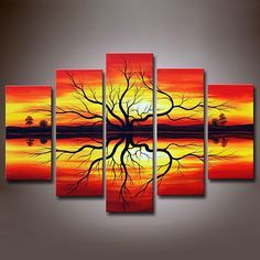 Sunset 5-panel Hand-painted Canvas Wall Art Set, sold at US$156.99.