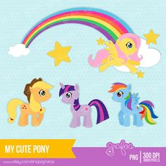 Shop for clipart on Etsy, the place to express your creativity through the buying and selling of handmade and vintage goods. My Little Pony Birthday, My Little Pony Party, Kids C, Art For Kids, Nautical Clipart, Doodle Cartoon, Cute Ponies, Clip Art Pictures, Felt Mobile