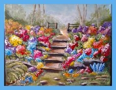 """Garden Steps"" painted by Jill Sandutch.  This charming garden acrylic tutorial  is available for rent or purchase in our store. www.gingercooklive.gallery"
