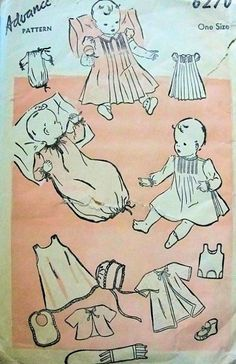 1940s Sweet Baby Boy or Girls Infants Layette Pattern Advance 6270 Dress, Slip, Bib, Cap Bonnet, Kimono Jacket, Sleeper, Booties Vintage Sewing Pattern