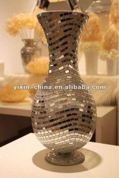 Hecho a mano grande plateado espejo de mosaico de vidrio for Jarrones decorativos grandes