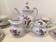 Vintage Moss / Old Rose Delicate China Tea Set Creamer Sugar Bowl Cups, Saucers #Ucagco