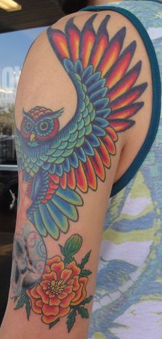 Vibrant, owl, stretched wings, full color, custom tattoo  Mandalin - Tattoo Artist | HOWL Gallery/Tattoo | Ft Myers - Florida