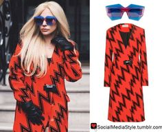 b54df3a9b90 Buy Lady Gaga s Blue and Pink Sunglasses and Red and Black Zig Zag Print  Coat