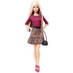 Barbie - Boneca Barbie Fashionista Saia Leopardo Top Riscas, uma boneca da coleção Barbie Fashionista e repleta de glamour da cabeça aos pés. Com modas inspiradas nas séries da Barbie, sabe posar como uma verdadeira modelo!