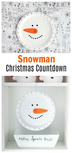 This snowman Christmas countdown is made out of a paper plate! Countdown the days by turning the snowman's nose. Simple for kids to make and so inexpensive.