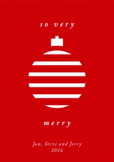 """Simple Red Minted Holiday Card. Customize """"Merry Ornament"""" only on Minted.com"""