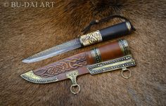 Viking knife withe a pattern-welded steel