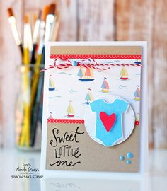 Reverse Confetti baby card. Simon Says Stamp Masterpiece Box project. Card by Wanda Guess! https://www.simonsaysstamp.com/product/Simon-Says-Stamp-MASTERPIECE-BOX-Master16-Master16