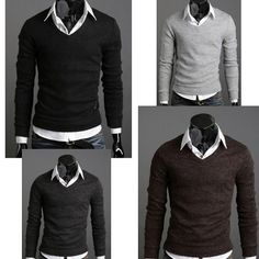 Mens Fashion Slim Fit V-neck Knitted Sweater Tops8.19