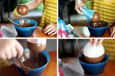 A way to make solid chocolate bowls for ice cream.....
