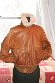 Vtg. SCHOTT leather faux shearling lined Bomber  Flight by Taite
