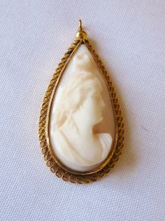 Antique Vintage Cameo Angel Skin Cameo Teardrop by vintagelady7, $44.99