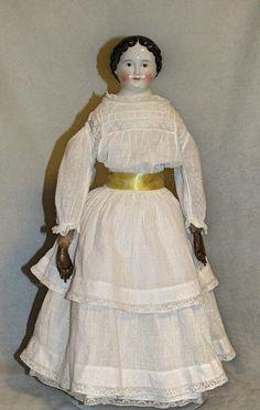 "20"" Greiner-Style China Doll, circa 1850 - Faraway Antique Shop #dollshopsunited"