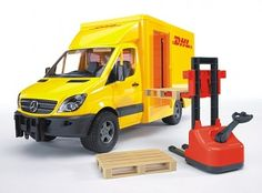 The Mercedes-Benz Sprinter DHL Truck with Manually-Operated Pallet Jack from the Bruder Truck collection - Discounts on all Bruder Toys at Wonderland Models.    One of our favourite models in the Bruder Trucks range is the Bruder Mercedes-Benz Sprinter DHL Truck with Manually-Operated Pallet Jack.    This DHL Truck features opening cab and bodyside doors and comes with a manually-operated pallet jack and two accurately-modelled pallets.
