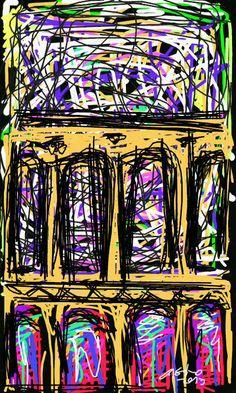 colunas pintadas a unha