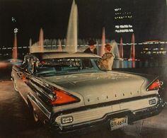 1959 MERCURY automobile vintage car advertisement man woman night scene fountains 1950s