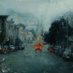 russian hill in blue ~ oil ~ by hsin yao tseng
