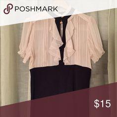 Charlotte Russe ivory & black keyhole blouse Charlotte Russe ivory & black keyhole blouse, size L, worn once, vintage look. Charlotte Russe Tops Blouses
