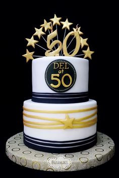 50th Birthday Cake Gold Black White