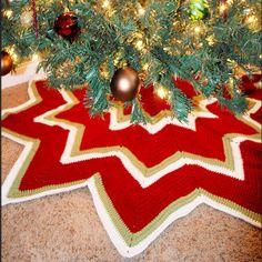 Twelve Pointed Star Christmas Tree Skirt | AllFreeCrochet.com
