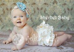 Sassy Pants White Ruffle Diaper Cover Baby Bloomer. $32.00, via Etsy.