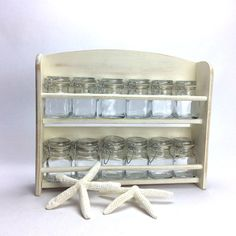 WOODEN SPICE RACK For Sale With 12 Square Mason by shabbyshores, $95.00 #masonjars #chic #rustic #kitchen #distressed #kichendecor