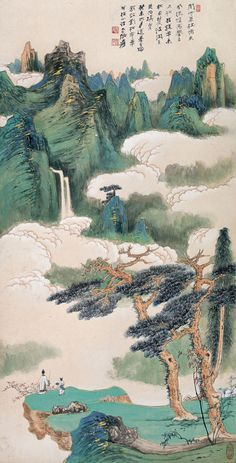 See how small the two people are? That's typical for a traditional Chinese painting: men is only a (small) part of nature.